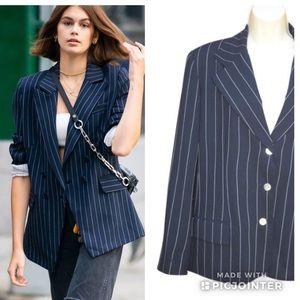 Vintage HALSTON Navy White Striped Blazer Jacket